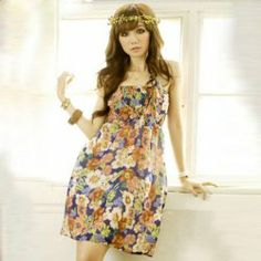 $4.48 Refresh High Waist Floral Print Flounce Strap Sleeveless Dress For Women