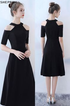 d043f19f51f Sale Tea Length Black Party Dress Halter with Sleeves  BLS86065 at SheProm.   SheProm