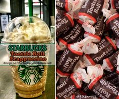 Starbucks Tootsie Roll Frappuccino- Oh the Tootsie Roll. It's neither taffy nor caramel but an entire class of its own that comes from its delicious, chocolaty fun to eat nature and equally fun name. Frappuccino Flavors, Starbucks Frappuccino, Frappe, Starbucks Coffee, Starbucks Secret Menu Drinks, Starbucks Recipes, Starbucks Products, Starbucks Hacks, Starbucks Strawberry Acai Refresher