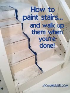 How to Paint Stairs and Get on With Your Day While the Paint Dries Basement Stairs Day Dries Paint Stairs Redo Stairs, Basement Stairs, Basement Ideas, Basement Decorating, Decorating Ideas, Basement Kitchen, Stairs And Hallway Ideas, Stair Redo, Basement Subfloor