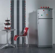 modern wall tiles for kitchen decorating in black and white with red accents