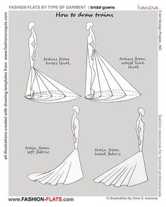 How to draw dress with train 2