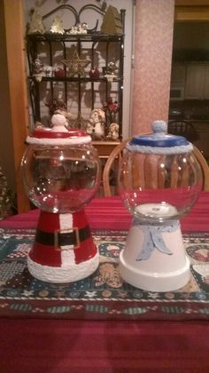 Santa and snowman candy jars by Brenda Holder Roberts Christmas Clay, Diy Christmas Gifts, Christmas Projects, All Things Christmas, Holiday Crafts, Christmas Holidays, Christmas Decorations, Christmas Ornaments, Christmas Ideas