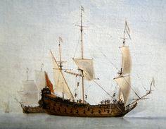 Willem van de Velde the Younger (1633-1707) - Calm sea with Dutch flagship, 1653 : detail