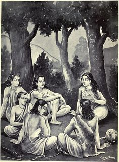 Drauapdi and the Pandavas in the Forest