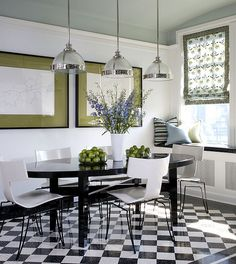 House of Turquoise: Blue Painted interior design 2012 interior design designs Black And White Dining Room, Green Dining Room, Black And White Tiles, Dining Room Design, Black White, White Walls, Green Table, Black Table, Design Kitchen