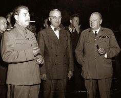 Stalin, President Truman, and Winston Churchill, the three most powerful men in the world at the time. The photograph was taken at the Potsdam Conference, which was a meeting to figure out how to move forward in the world after World War II. The Potsdam Conference began on this day (July 17) in the year 1945.