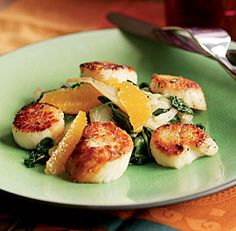 Seared Scallops with Wilted Fennel & Spinach Salad by Molly Stevens, finecooking: Sweet, tender, mild, and delectable—the less you fuss with scallops, the better they taste. Dry thoroughly, cook briefly, and sauce simply to enjoy the subtle sweet richness of seared scallops. Here is a video on how to do it. http://www.finecooking.com/videos/seared-scallops-recipe.aspx?ac=ts=fp #Scallops #Salad #Fennel #Spinach