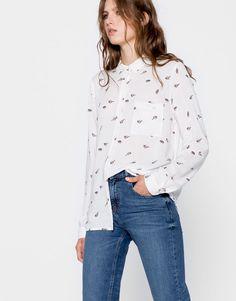 Pull&Bear - mujer - ropa - blusas y camisas - estampadas - camisa estampada manga larga - blanco - 09470341-I2016