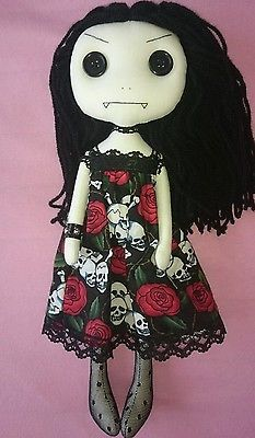 Ooak gothic rag doll by chamber of dolls vampire