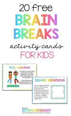 Brain Breaks for Kids - The benefits of brain breaks for elementary aged children at home and school - plus 20 printable activity cards with brain break activities on them. Print and laminate and keep them on hand. Wellness Activities, Movement Activities, Mindfulness Activities, Brain Activities, Therapy Activities, Mindfullness Activities For Kids, Kids Printable Activities, Elderly Activities, Music Activities