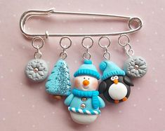 Snowman Jewelry - Christmas Pins - Christmas Gifts - Penguin Pins - Winter Pin Brooch - Christmas Stocking