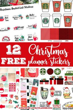 12 FREE Christmas planner stickers sets to decorate your planner for the Holidays: weekly kit, monthly kit, countdown, bucket list, etc! Christmas Stickers Printable, Free Christmas Printables, Printable Planner Stickers, Free Printables, Calendar Stickers, Calendar Ideas, To Do Planner, Free Planner, Happy Planner