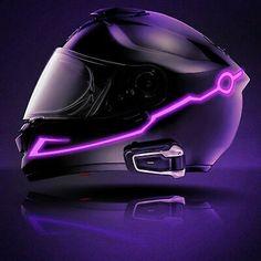 LED lighting attached to an MC Helmet Honda Motorcycles, Custom Motorcycles, Vintage Motorcycles, Womens Motorcycle Helmets, Cruiser Motorcycle, Purple Motorcycle Helmet, Motorcycle Shop, Motorcycle Girls, Motorcycle Design