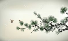 """Wall Mural """"asian, painting, bird - pain tree"""" ✓ Easy Installation ✓ 365 Days Money Back Guarantee ✓ Browse other patterns from this collection! Japanese Ink Painting, Japanese Watercolor, Chinese Painting, Japanese Art, Tree Wall Murals, Door Murals, Pine Tree Painting, Tree Illustration, Tree Wallpaper"""