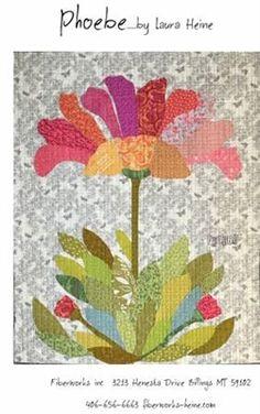 Phoebe Flower Collage Applique Quilt Pattern by Laura Heine from Fiberworks Inc. Applique Quilt Patterns, Hand Applique, Block Patterns, Applique Ideas, Laura Heine, Flower Collage, Collage Art, Collages, Flower Quilts