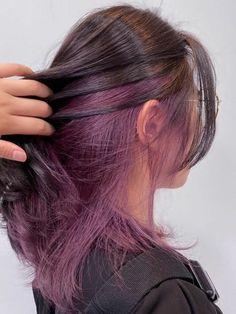 Under Hair Dye, Under Hair Color, Hidden Hair Color, Two Color Hair, Korean Hair Color, Hair Color Streaks, Hair Color Purple, Hair Color For Black Hair, Korean Hair Dye