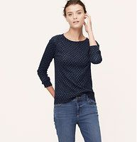 Stamped Spot Sweatshirt Tee - Crafted in especially soft, touchable jersey - and stamped with inky spots - this sweatshirt-meets-tee staple may just be the perfect marriage.  Jewel neck. Long raglan sleeves. Banded neckline, cuffs and hem.