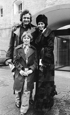 Johnny Cash poses with  June Carter Cash and their son John Carter Cash in Copenhagen Denmark January 1979