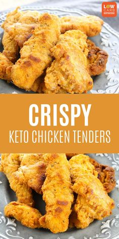 These are the best keto chicken tenders I've ever tried! This Crispy Keto Chicken Tenders recipe is amazing! Can't believe they are low carb!