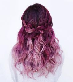 A gorgeous magenta pink that slays!! We are going crazy over these sweet curls in this awesome half up style