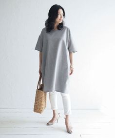 TP008 コクーンワンピース【Today's pattern】 (型紙・パターン) Baby Boots, Casual Street Style, Work Fashion, Sewing Crafts, Sewing Ideas, Autumn Fashion, Normcore, Tunic Tops, One Piece
