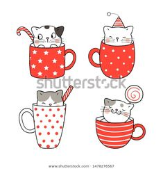 Find Draw Vector Collection Cute Cat Cup stock images in HD and millions of other royalty-free stock photos, illustrations and vectors in the Shutterstock collection. Christmas Drawing, Christmas Art, Hygge Christmas, Christmas Decorations, Vector Christmas, Christmas Coffee, Christmas Stickers, Santa Letter Printable, Animal Doodles