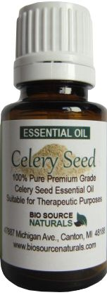 Celery Seed (Apium graveolens) Pure Essential Oil - 1 fl. oz. / 30 ml, $9.50.  Celery oil is derived from the seed, and is found in foods, perfumes, and soaps. This lovely essential oil has a history of medical uses for joint pain, indigestion, urinary problems, and to regulate menstruation. Celery seed essential oil's properties have been used in aromatherapy as an aphrodisiac, antioxidant, antiarthritic, diuretic, nervine, and to stimulate child birth.  #aromatherapy