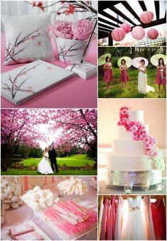 Pretty in Pink Cherry Blossom Wedding Inspiration - ideas para boda en colores blanco y rosa (cerezo en flor)