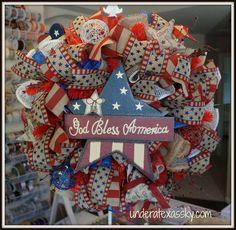 Patriotic Poly Burlap Ruffle Wreath