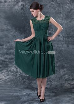 US$179.99 Dark Green Jewel Neckline Tea Length Chiffon Mother of the Bride/Mother's Party/Women Party/Mom's Party Dresses Free Shipping Worl...
