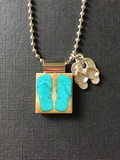 Handmade Flip Flop Jewelry, recycled scrabble tile jewelry, flip flop pendant, flip flop charm, summer jewelry, aqua flip flops, ball chain by InSmallPackages on Etsy