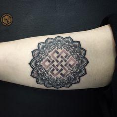 Endless knot lotus flower mandala tattoo  instagram @themanyao