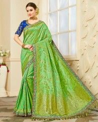 Light green jacquard silk sari paired with banglori silk blouse. This sari is beautified with heavy golden lace border. It comes with unstitched blouse. This sari measures 5.5 meter, including a 0.8 meter blouse piece.