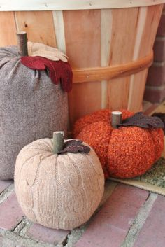 upcycled sweater pumpkins = great texture