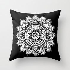 mandala pillow/black pillow/white pillow/black and white pillow/elegant pillow/chic pillow/zen pillow/mandala throw pillow/mandala decor by haroulitasDesign on Etsy https://www.etsy.com/listing/246364042/mandala-pillowblack-pillowwhite #ThrowPillows