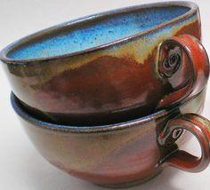 Soup Chowder Bowl Set Iron Red Blue Pottery Soup Mugs Cups