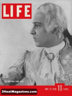 Life Magazine June 20, 1938 : Cover - Rudolph Valentino in powder wig and silks.