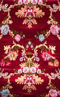 Tibetan-Red Lotus Brocade with Hand-woven Flowers