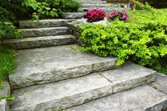 Chiseled Stone Steps Entryways, Steps and Courtyard Landscaping Network Calimesa, CA Garden Steps, Lawn And Garden, Home And Garden, Garden Paths, Farm Gardens, Outdoor Gardens, Landscape Design, Garden Design, Sloped Landscape