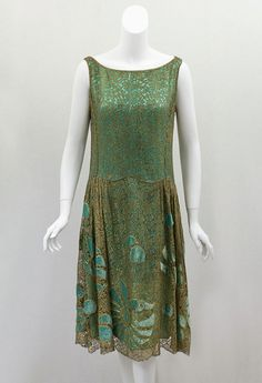 1920s Clothing at Vintage Textile: #7365 Metallic lace flapper dress
