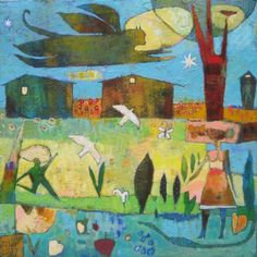 Jane Filer - The Return at Twilight, acrylic on canvas, Funky Art, Naive Art, Contemporary Paintings, Art Techniques, Landscape Art, Figurative Art, Painting Inspiration, Art Images, Art Lessons