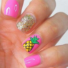 Want some ideas for wedding nail polish designs? This article is a collection of our favorite nail polish designs for your special day. Diy Nails, Cute Nails, Pineapple Nails, Gold Pineapple, Bright Summer Nails, Pink Summer, Bright Nails, Summer Winter, Summer 2016