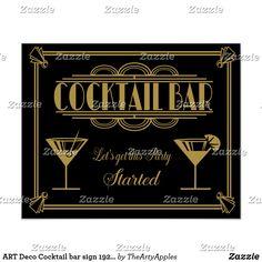 Get the Deal: ART Deco Cocktail bar sign Gatsby Party Poster Art Deco Bar, 1920s Art Deco, O Grande Gatsby, 1920 Gatsby, 1920s Bar, Great Gatsby Themed Party, 1920 Theme Party, Harlem Nights Theme Party, Party Themes