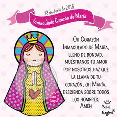 Inmaculado Corazón de María . Prayers For Children, Mary And Jesus, Blessed Virgin Mary, Draw Something, Jesus Loves Me, Inspiration For Kids, Dear God, Religion, Faith