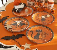Halloween Plate Set | Pottery Barn Kids --> just bought the vampire and the skeleton :)