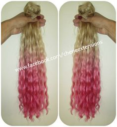 7A Remy Ombre Dip Dye Balayage Human Hair Extensions Weft Clip Ins OR Halo Invisible Wire Weave Blonde into Hot Pink Permanent Wave