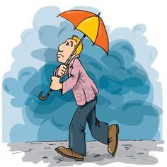 Cartoon of a man walking in the rain with an umbrella. Cloudy sky behind Stock Photo - 10418388