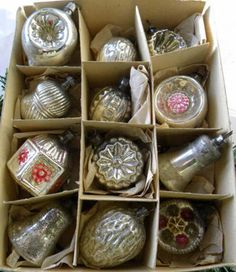 "Box 12 Antique 1.5"" Mini Silver Mercury Glass Feather Tree Ornaments Germany 