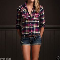 Hollister by Abercrombie Women Orange County Casual Dress Plaid Shirt Top-- a cool looking shirt and some jean shorts.
